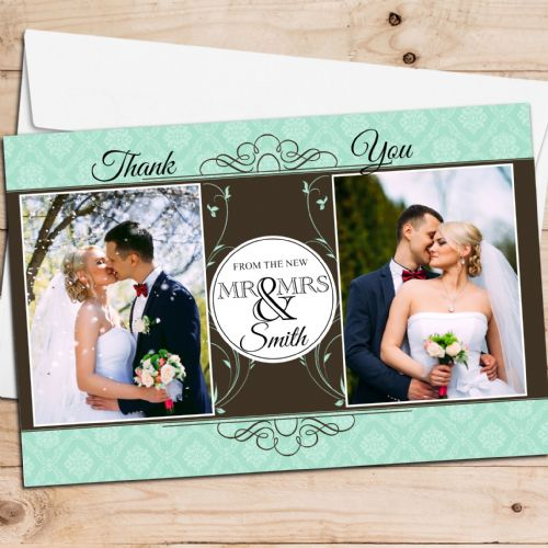 10 Personalised Premium Wedding Thank you Photo Cards N263